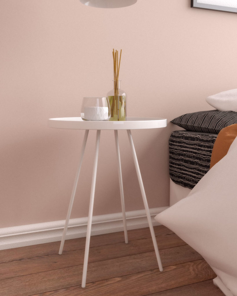 Convenient small steel round accent nightstand table (white, black, gray)