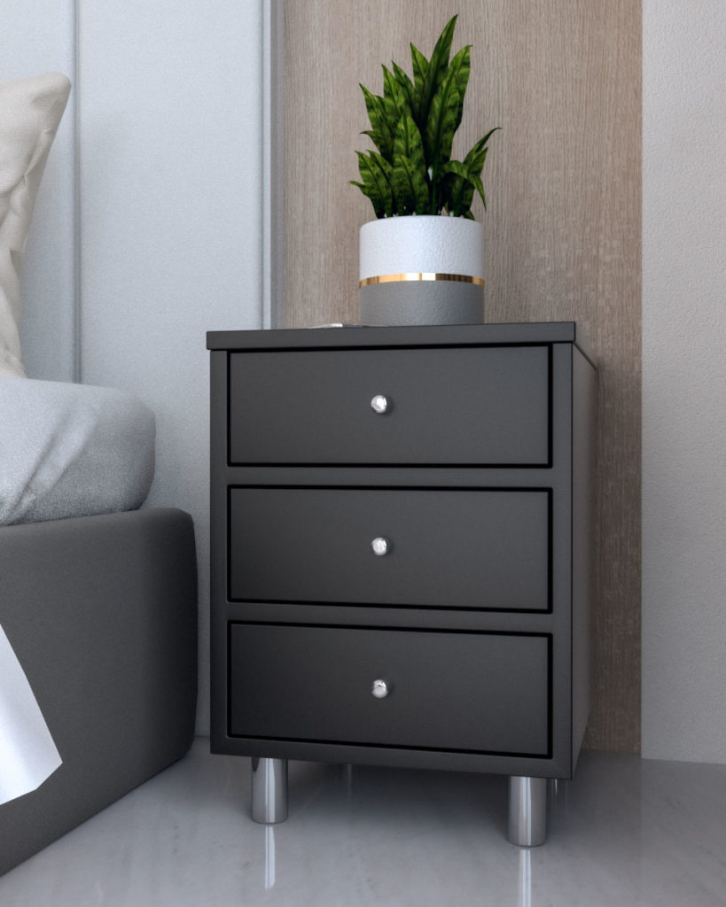 Stylish black narrow nightstand table with 3 drawers for small spaces