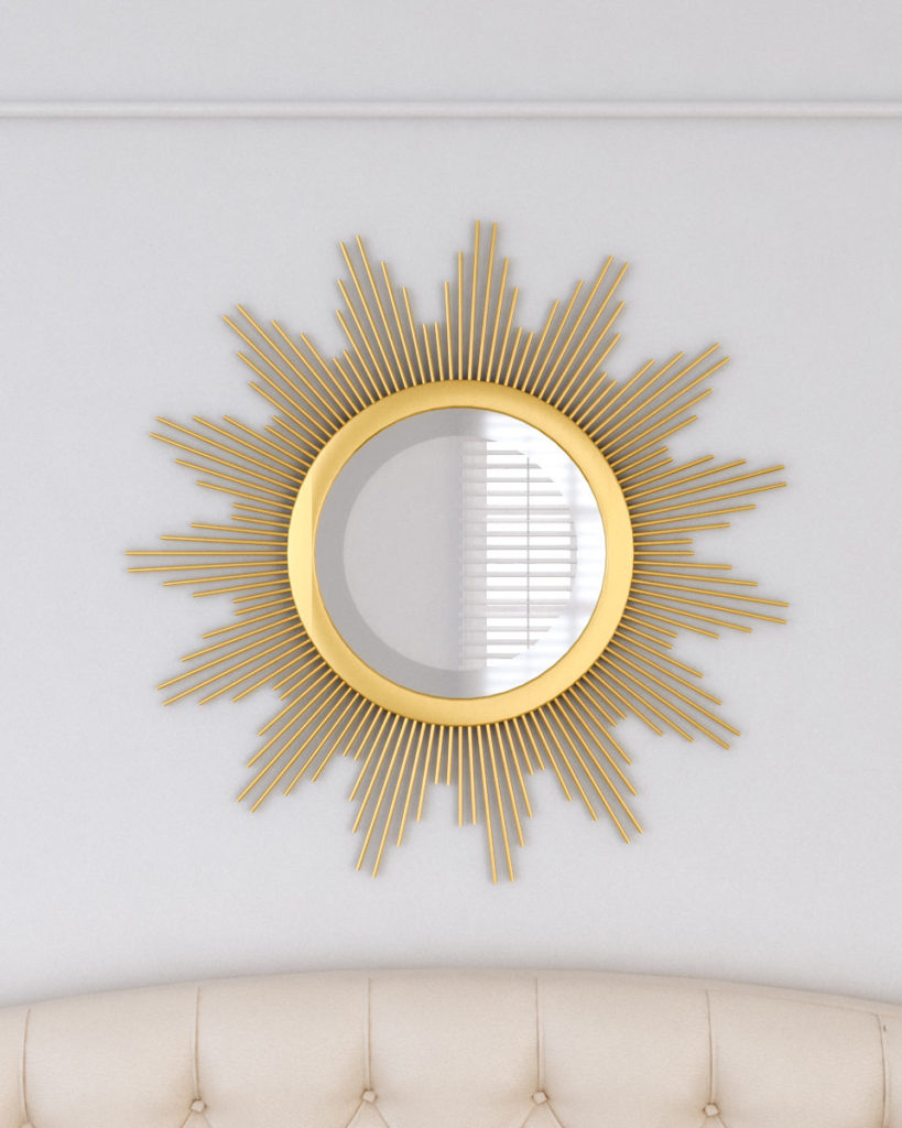 Gold sunburst round wall mirror