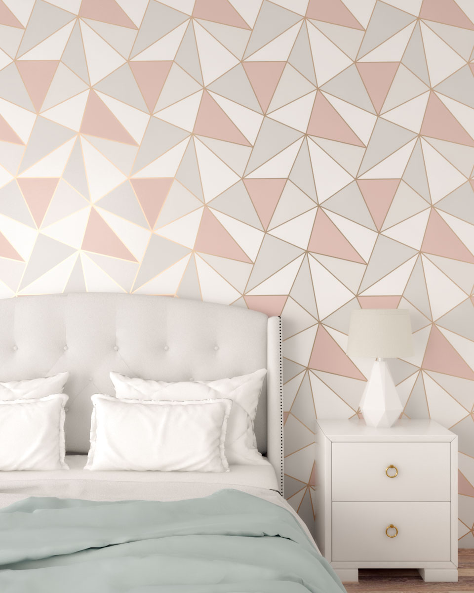 Modern geometrical shaped rose gold wallpaper (rose gold, white and gray)