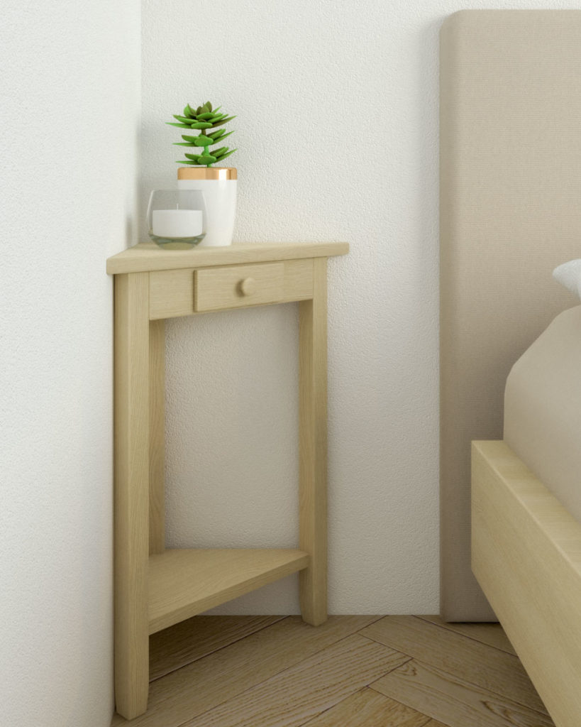 Unfinished wood corner nightstand for small spaces
