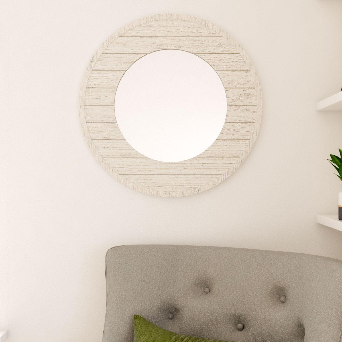 White aged wood vintage style round wall mirror