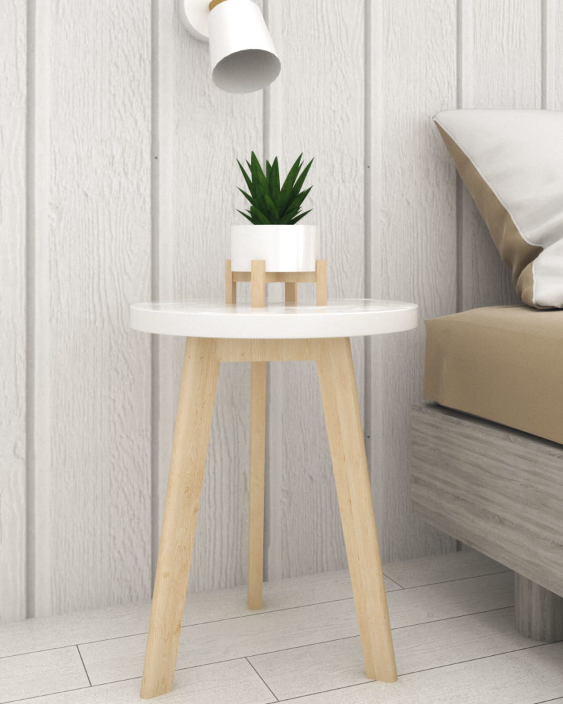 White round table with marble top and wooden leg