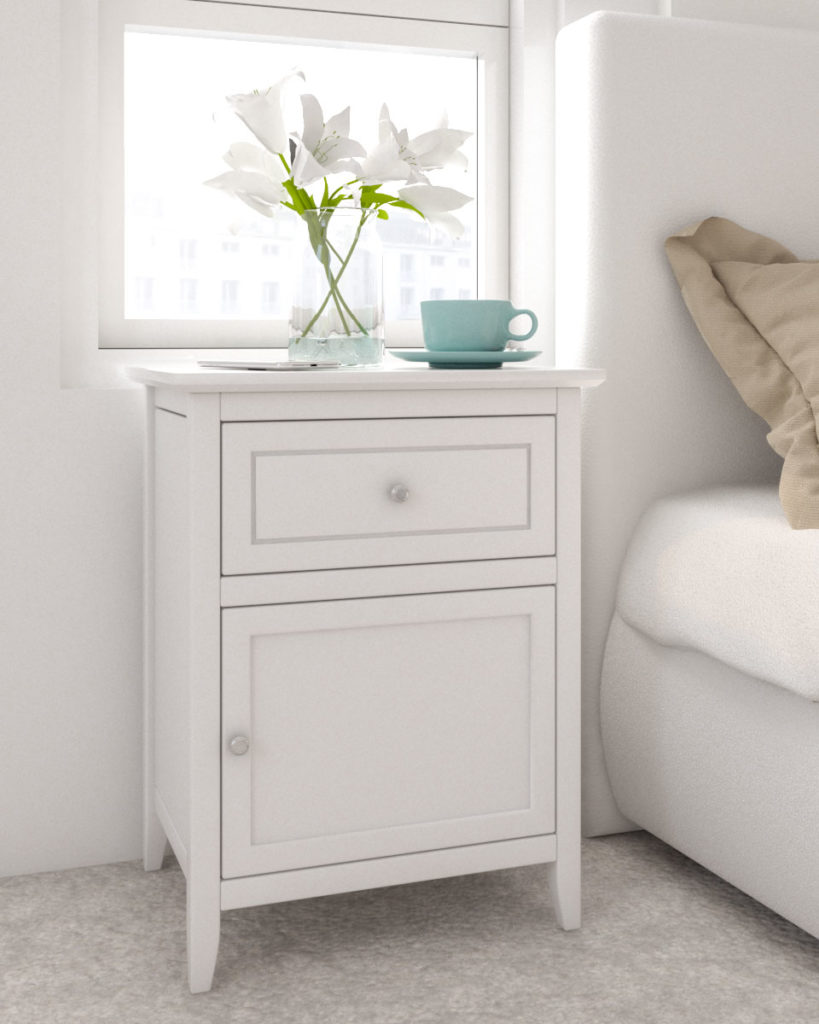 Wood nightstand table with white finish for small bedroom