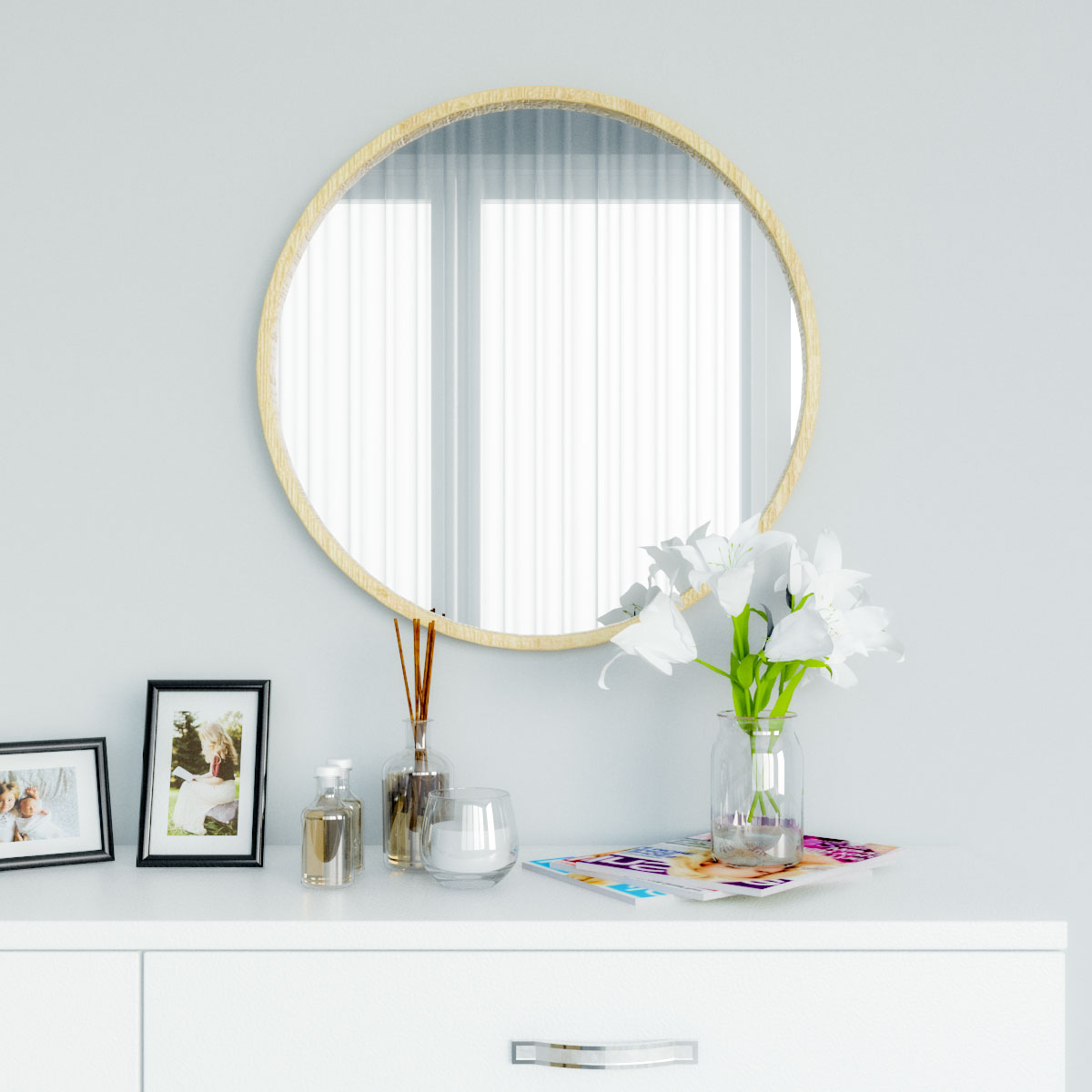 Gold glam and modern wood round wall mirror
