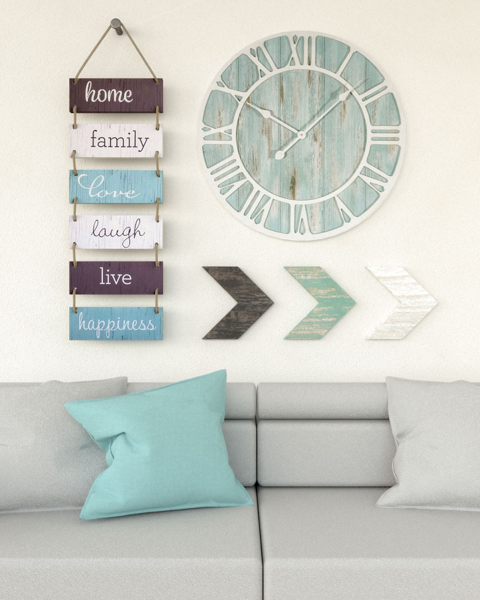 Living room coastal wall ideas using large size wall clock