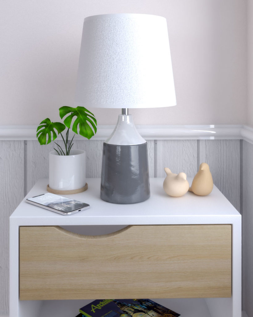 Decorative gray and white ceramic fashionable table lamp