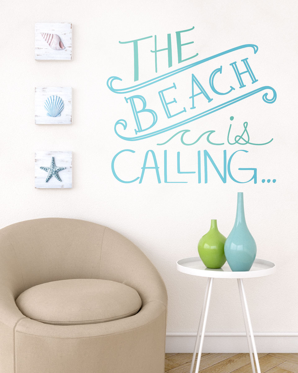 Simple wall decor using beachy wall stickers