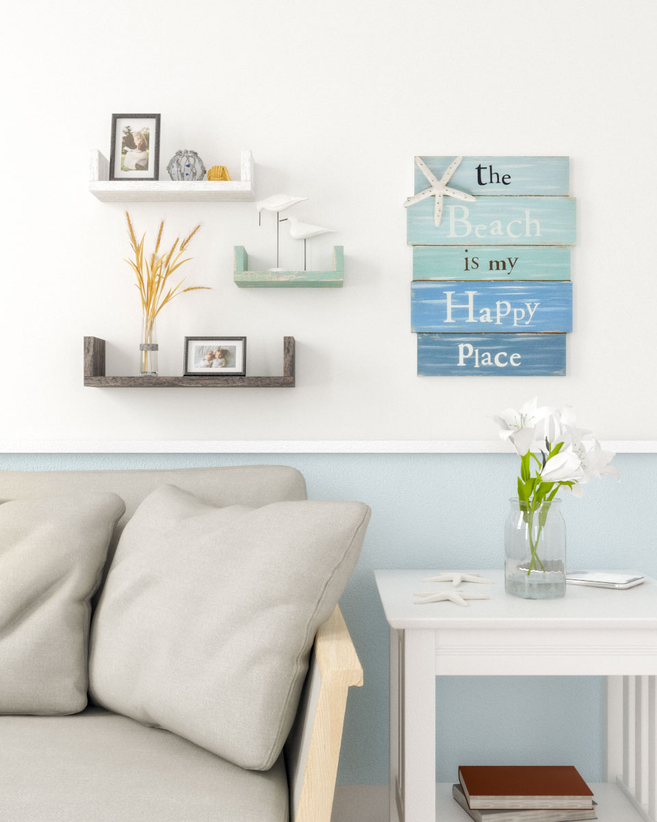 Beautiful wall decor using floating shelves