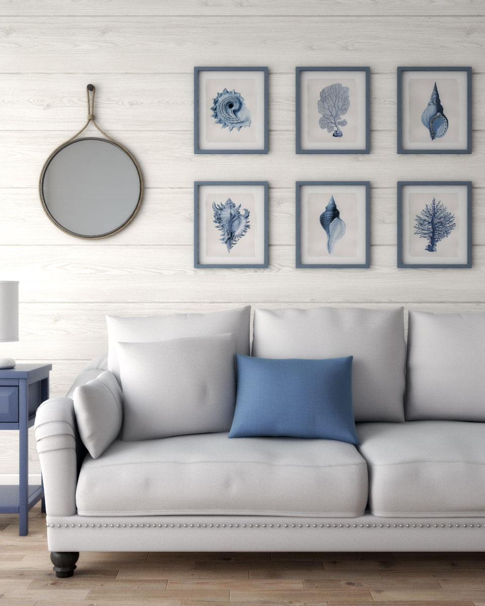 Classic elegant coastal wall decor for living room ideas