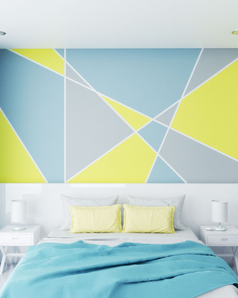 Geometric wall paint ideas using yellow, blue and white color combinations