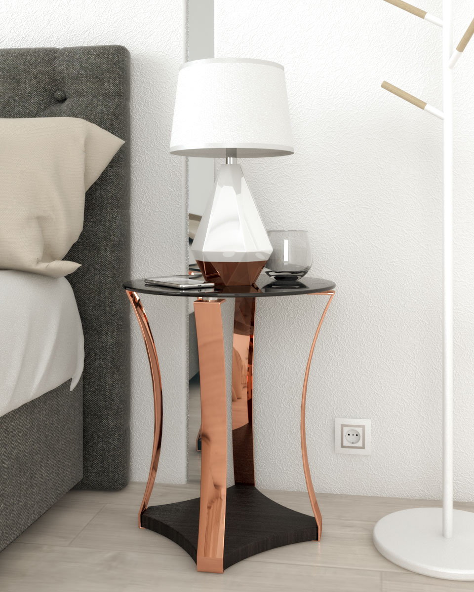 modern contemporary style round table with black glass top and rose gold posts