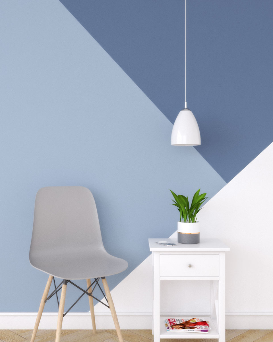 Simple blue and white geometric wall paint ideas