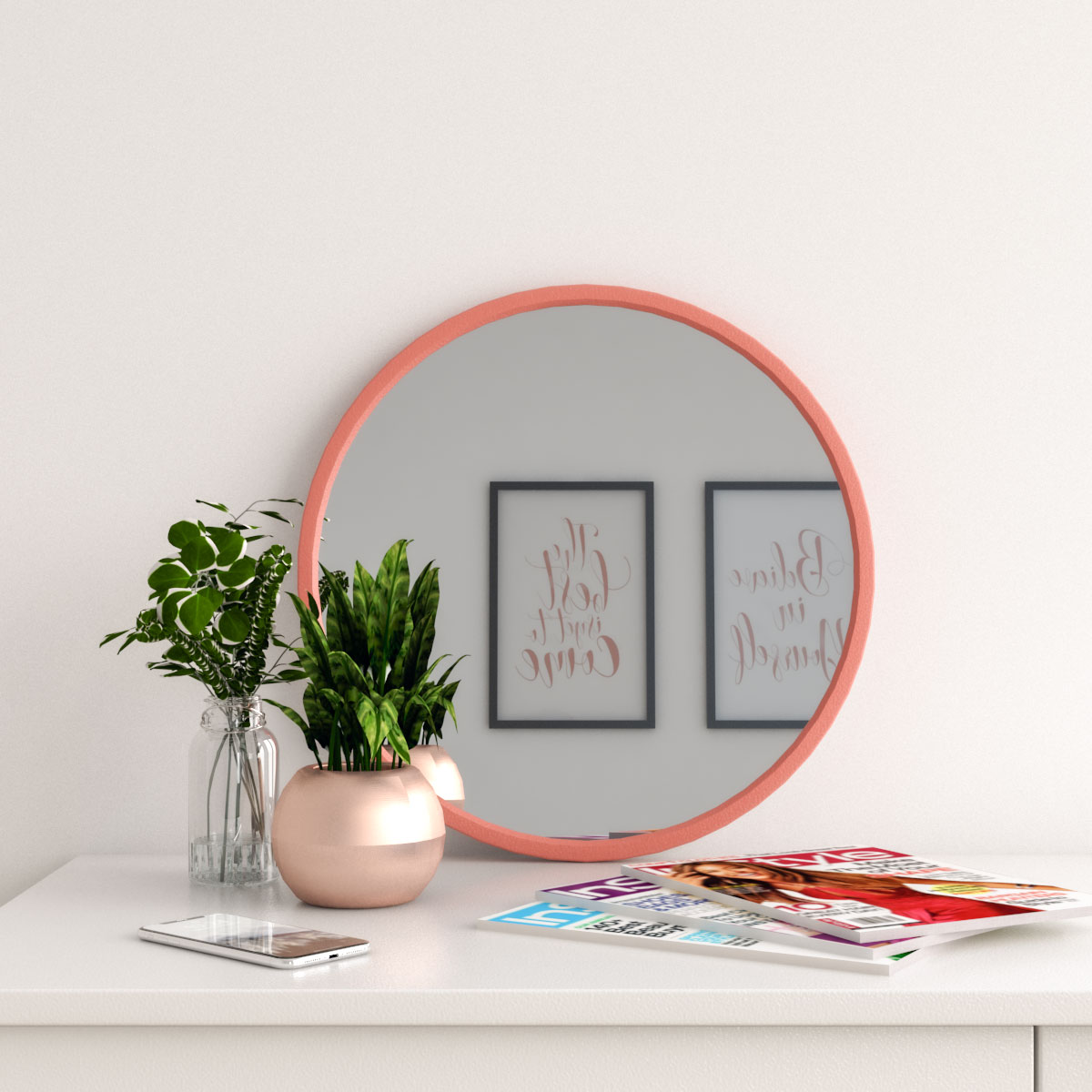 Coral pink rubber frame modern round wall mirror