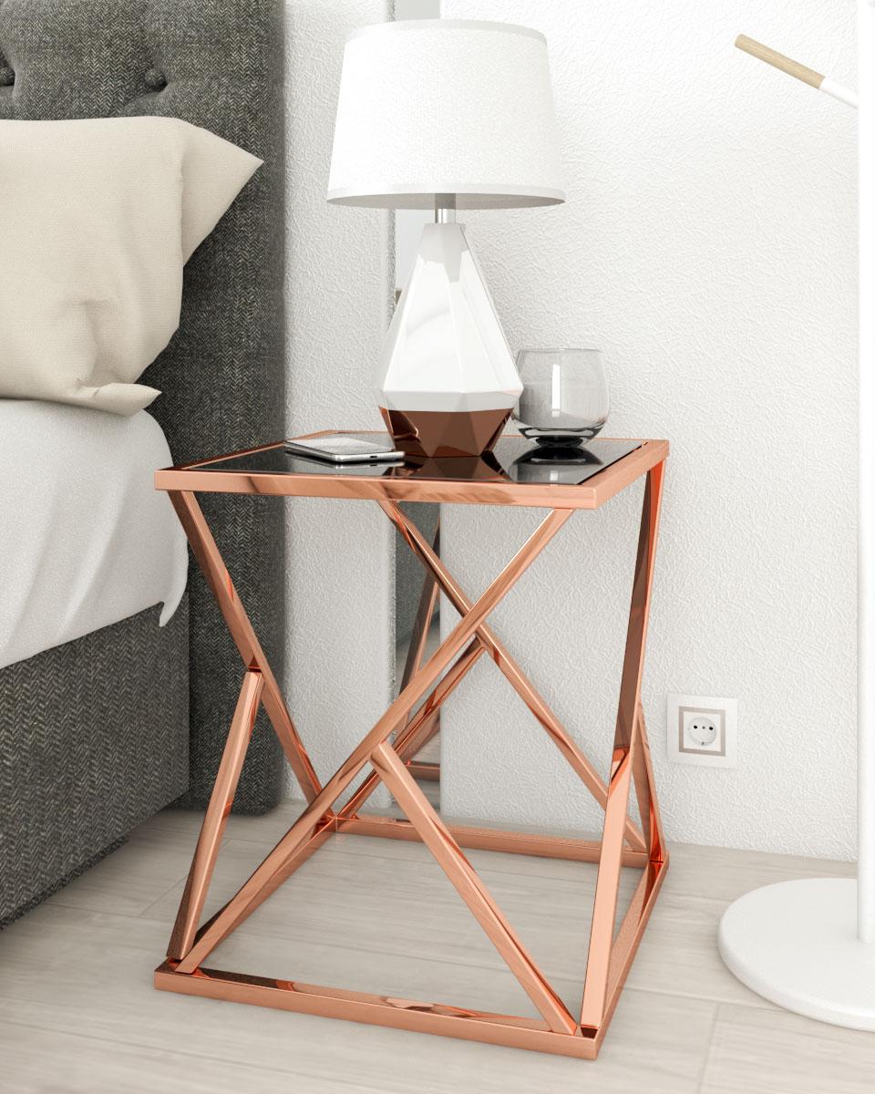 square rose gold and black geometric shape table