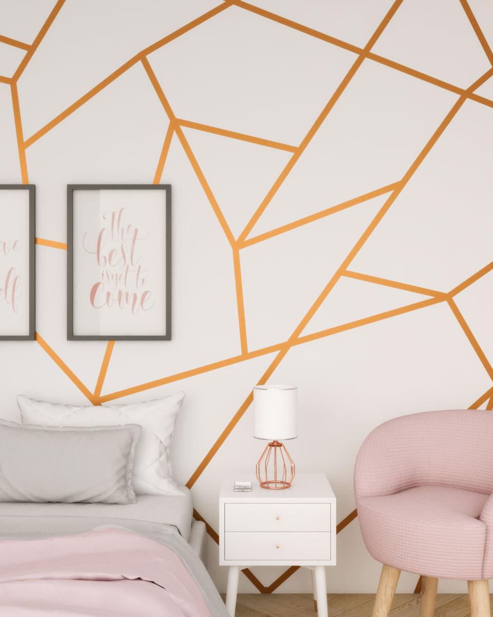 Glamorous gold geometric wall pattern
