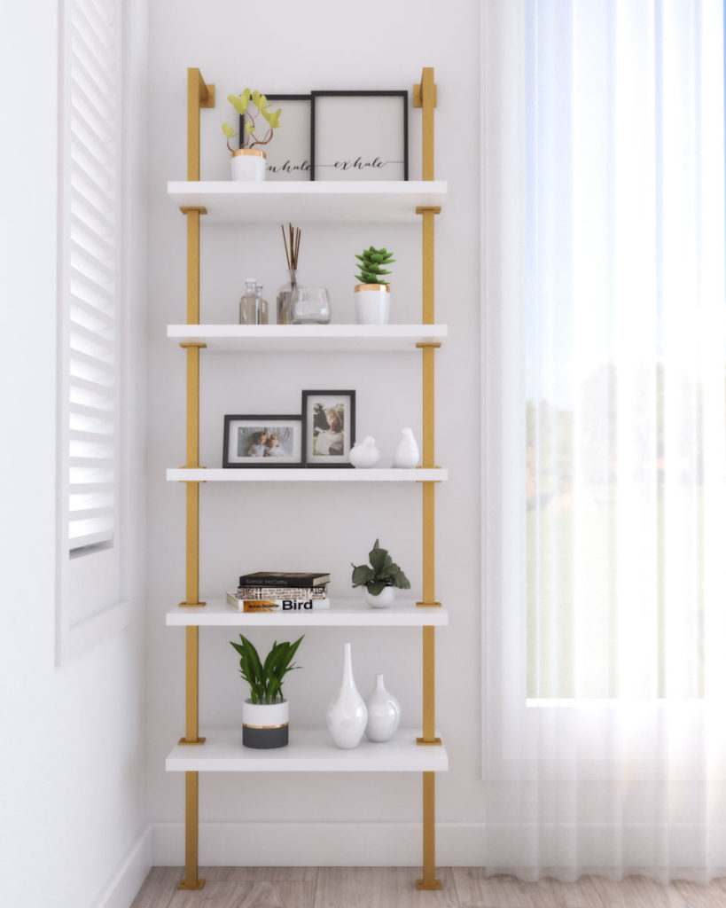 gold and white metal shelf