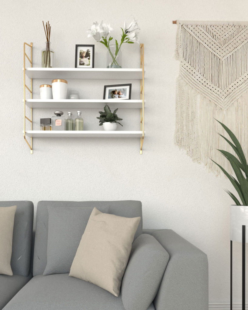 Gold and white floating shelf