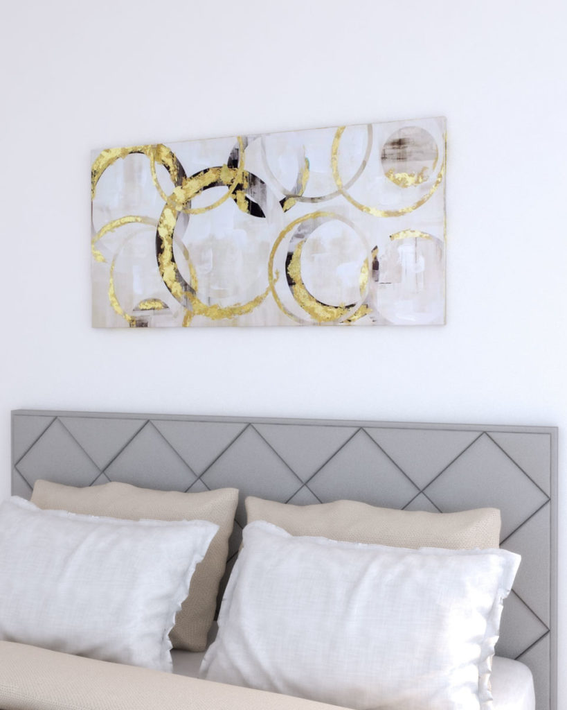Glamorous wall decor using gold wall picture artwork with gold foil
