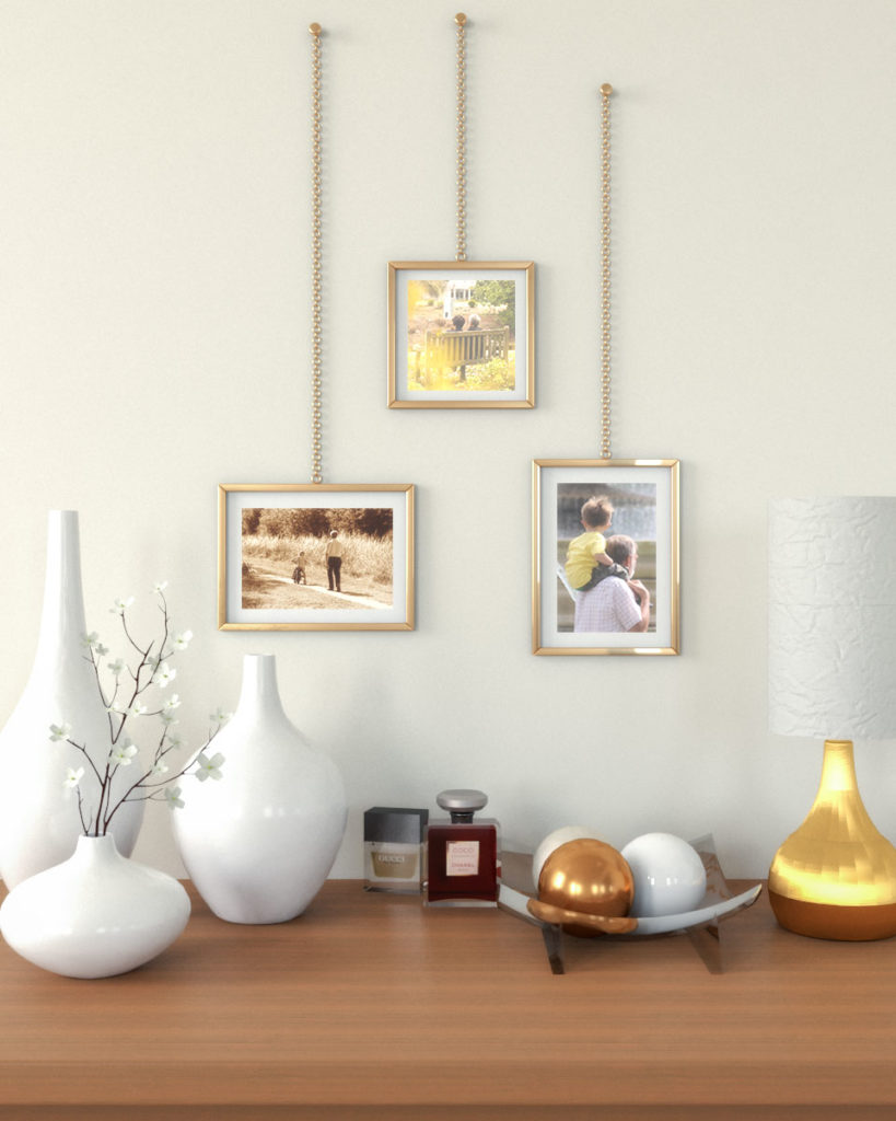 Gorgeous wall decor using gold wall hanging picture frame