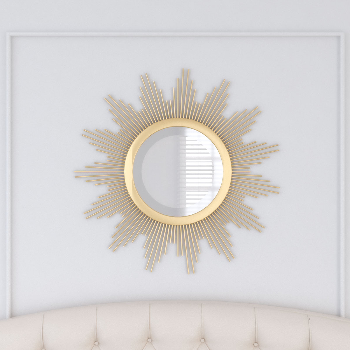 Sold sunburst style glam round wall mirror