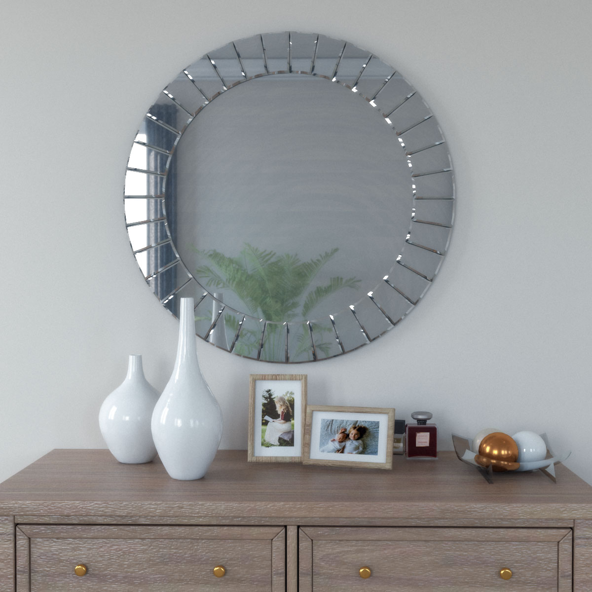 Glamour modern geometric art-deco style beveled frame round mirror