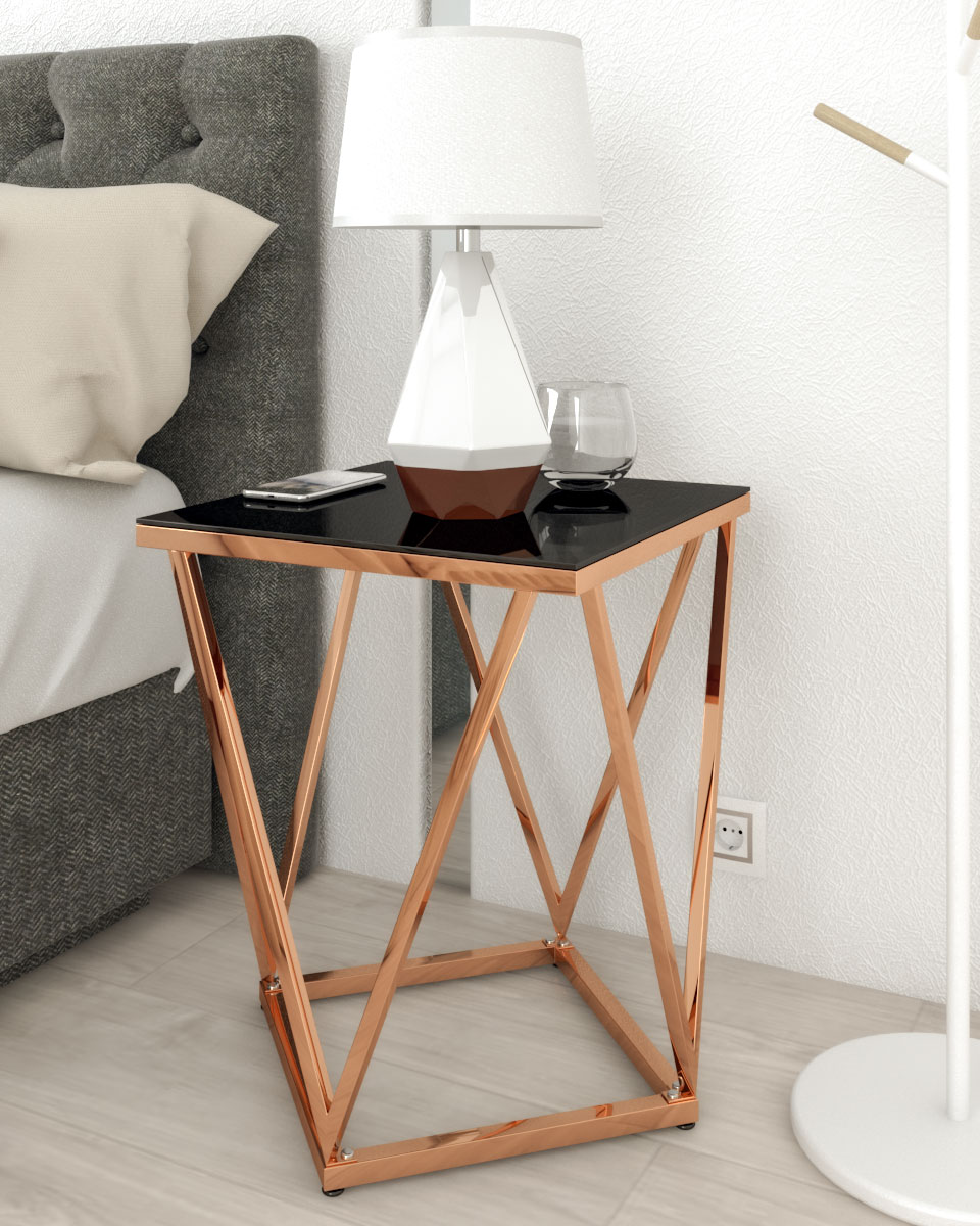 modern glam black and rose gold nightstand table