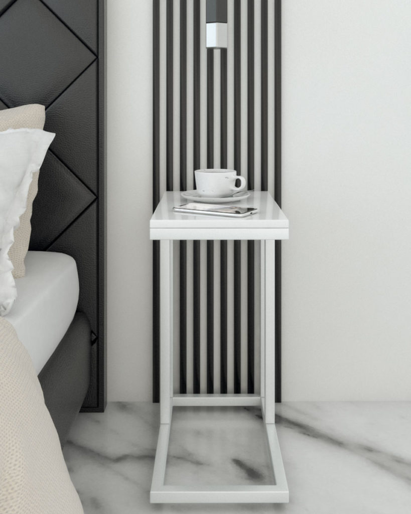 Modern contemporary style c-shaped white nightstand table