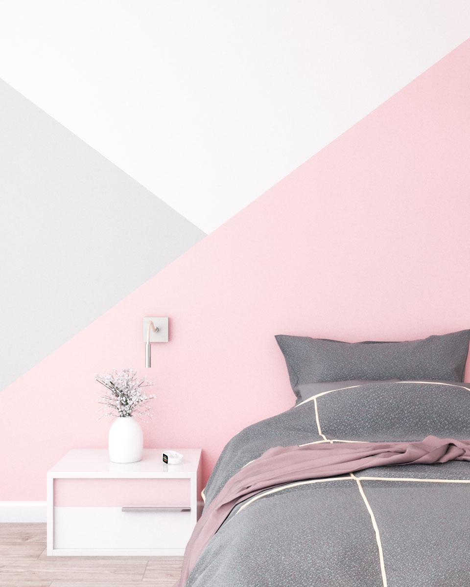 Beautiful pink and gray geometric wall paint ideas
