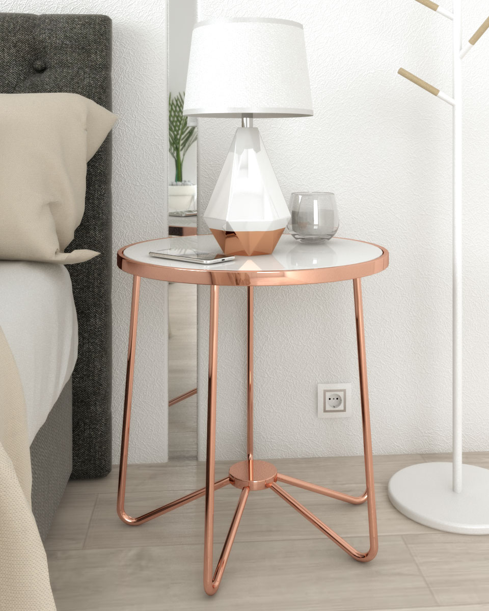 white frosted glass and rose gold accent table