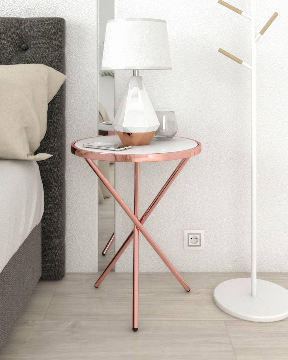 white and rose gold copper round nightstand table with 3 legs