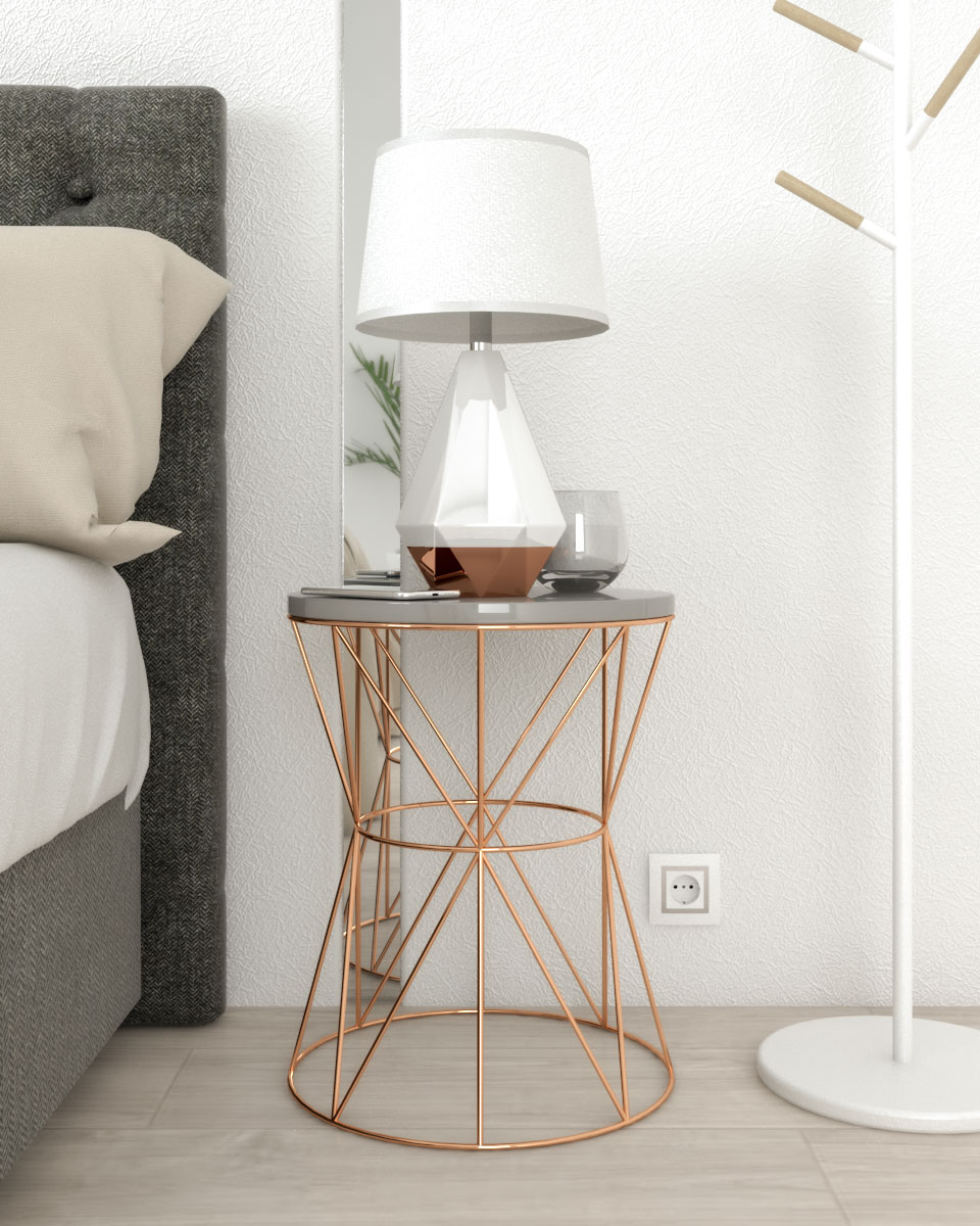 gray and rose gold round accent nightstand table