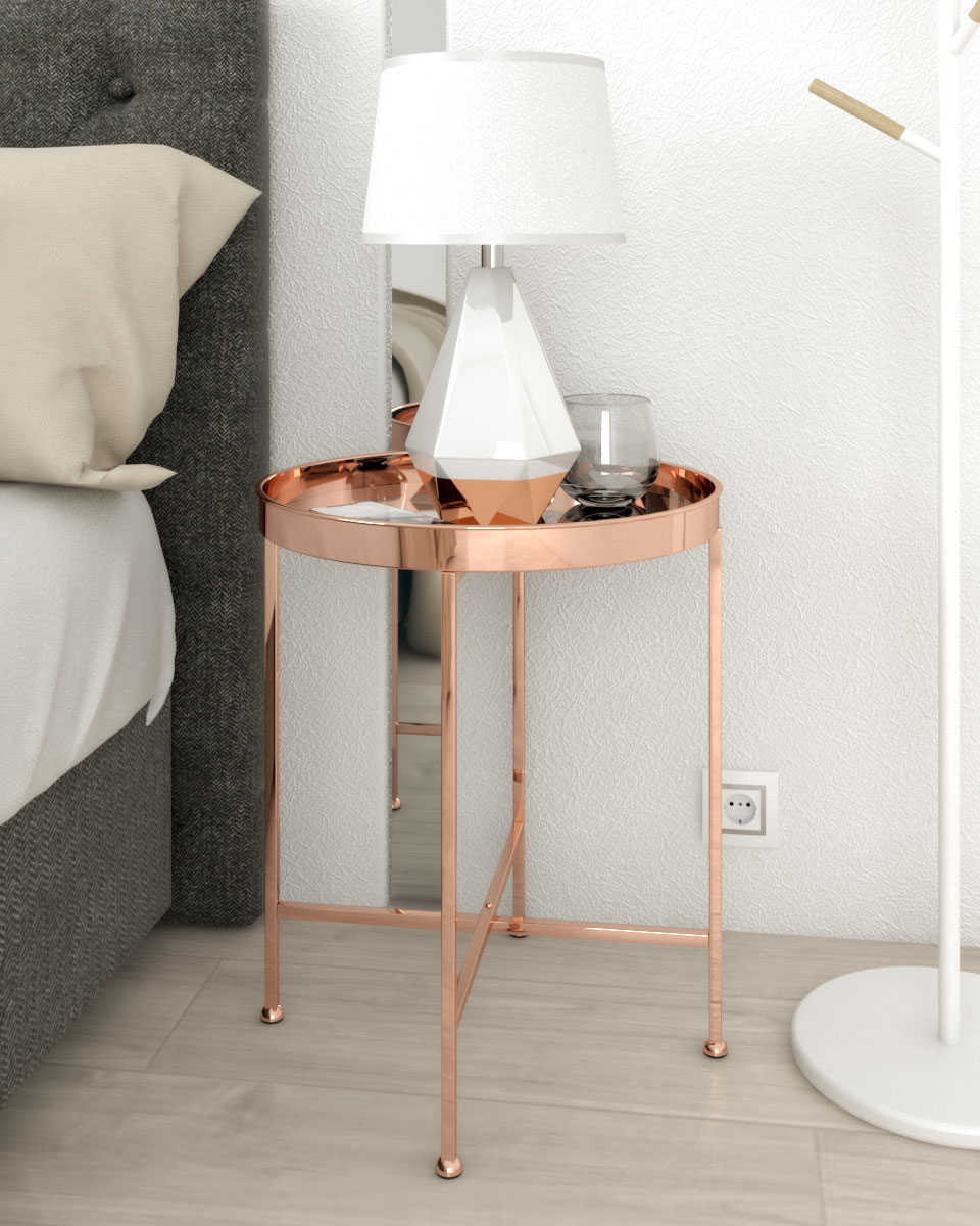 rose gold round metal nightstand table with mirror tray