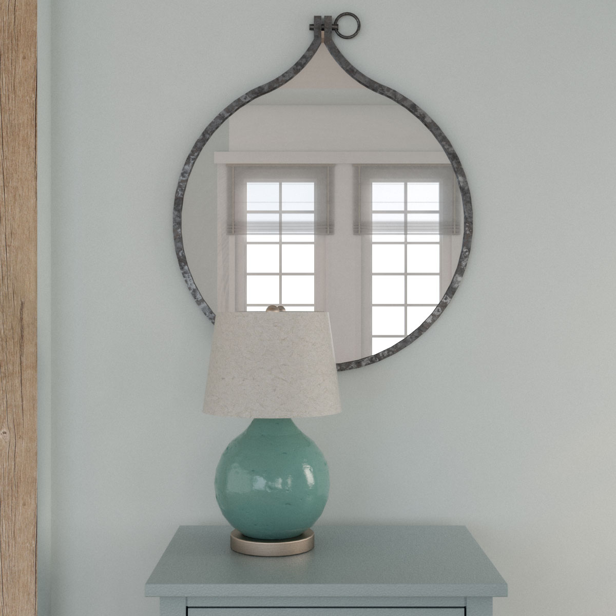 Rustic style round metal wall mirror