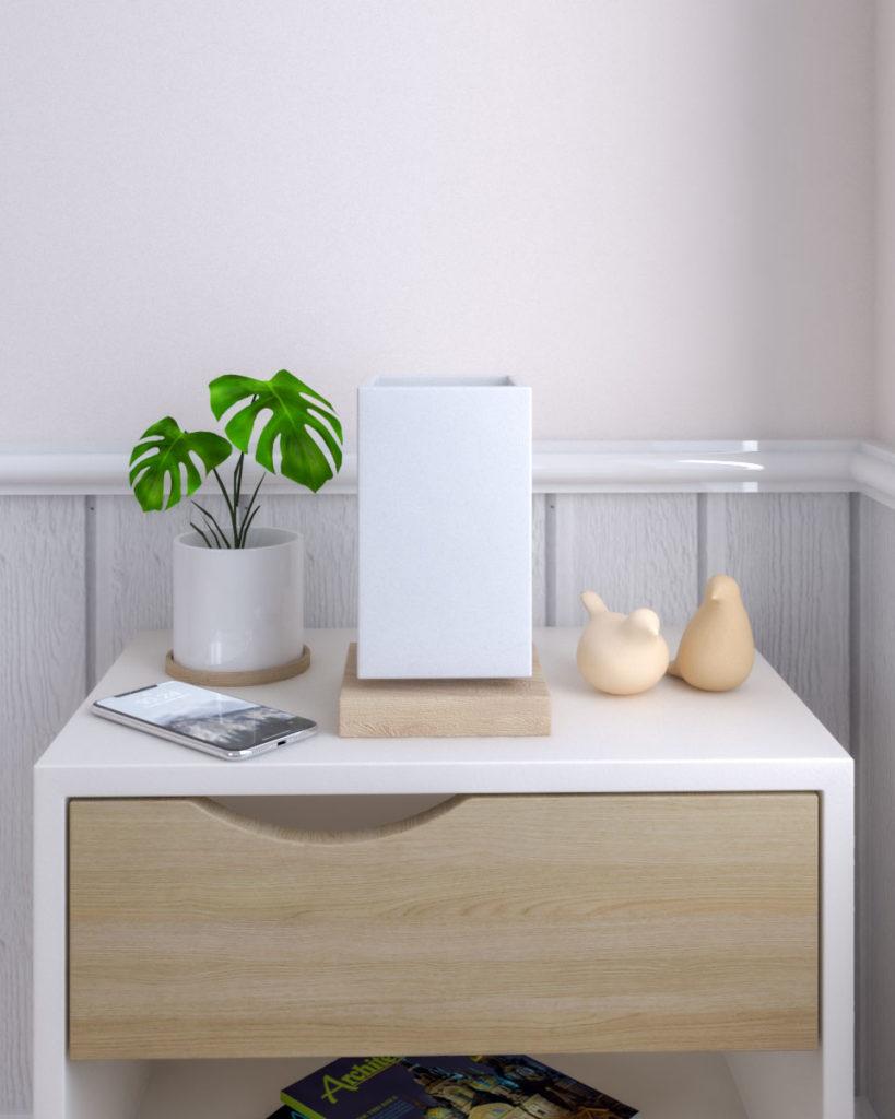 Minimalist wooden bedside table lamp