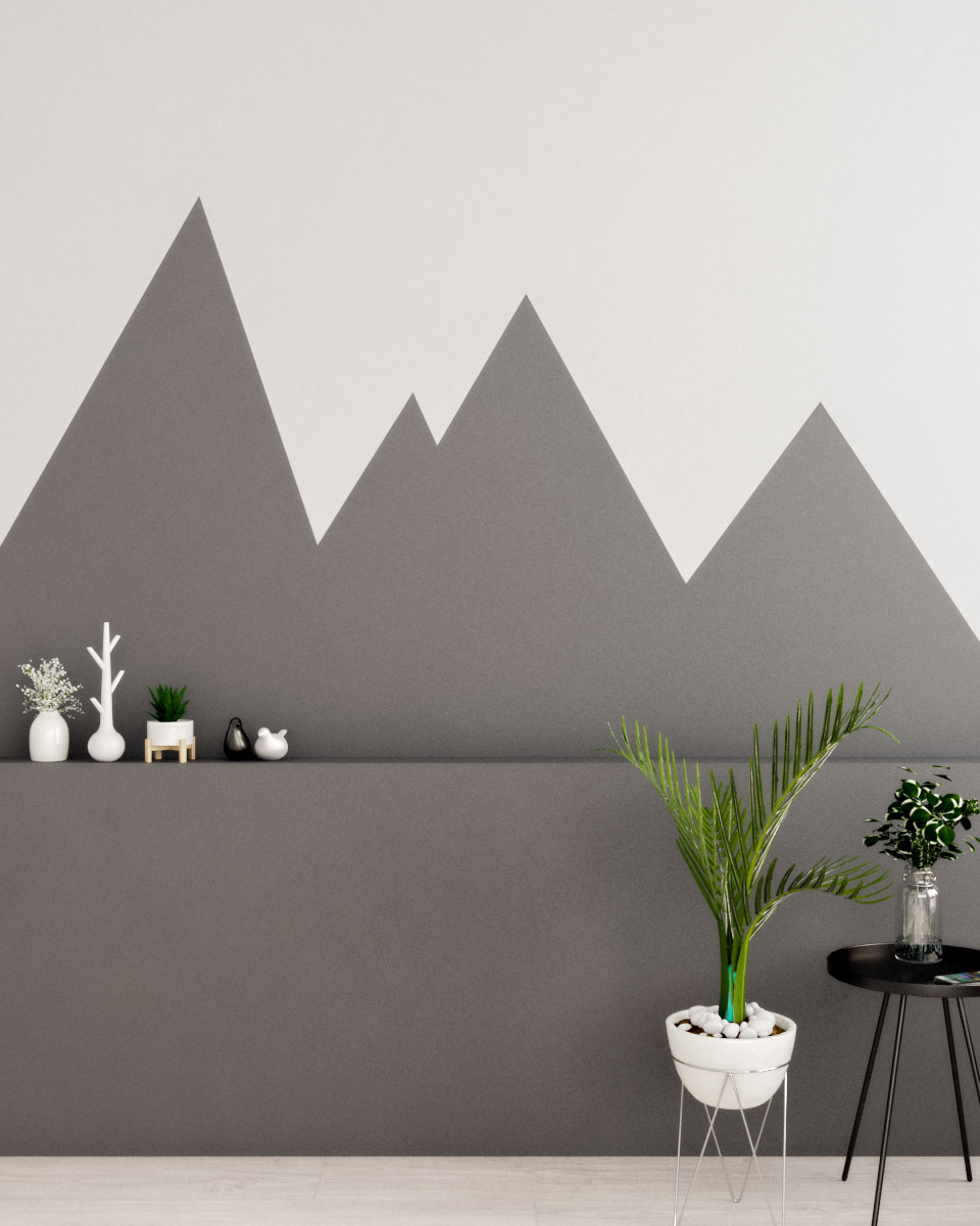 Mountain line effects scandinavian geometric wall paint ideas dark gray and white