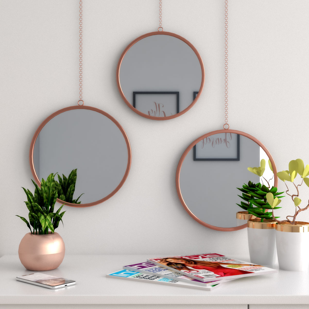 Modern copper finish round wall mirror set of 3