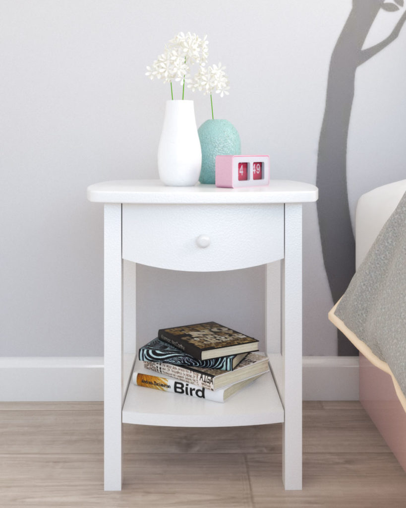 Simple accent narrow nightstand table with white finish