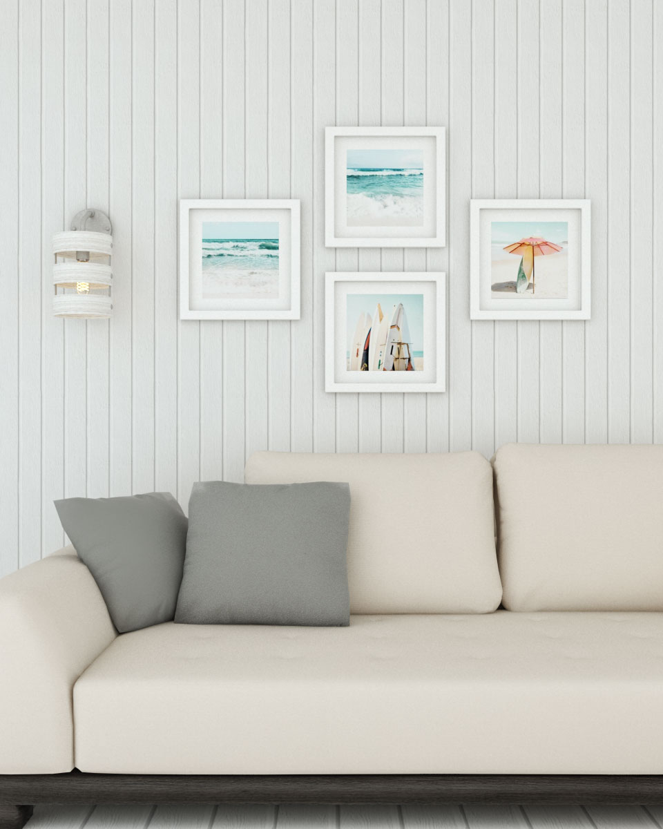 Simple wooden white wall decor
