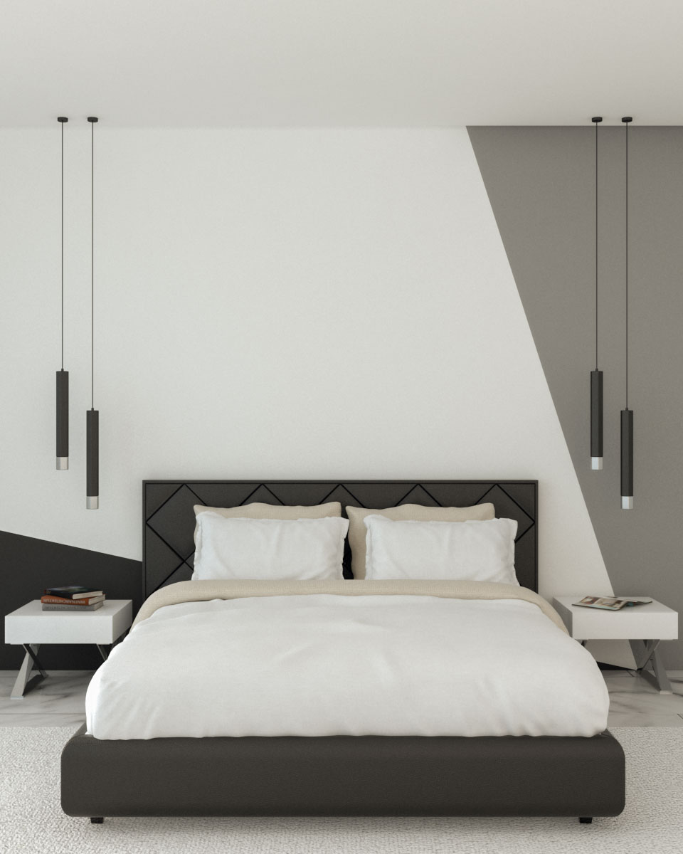 Black and white geometric style wall paint ideas