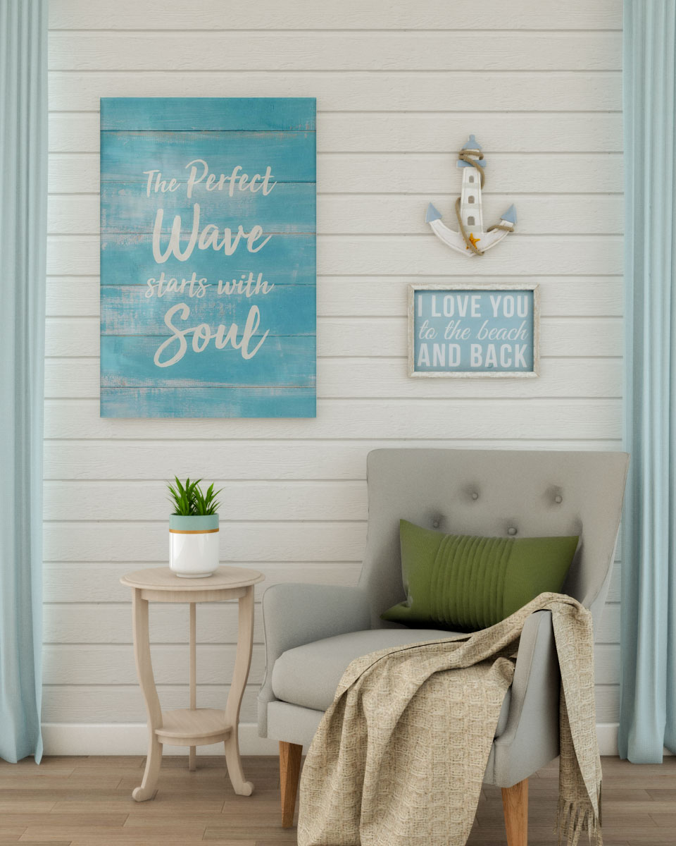 Soothing blue coastal style wall decoration ideas