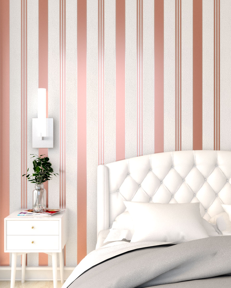 Rose gold vertical stripe wallpaper