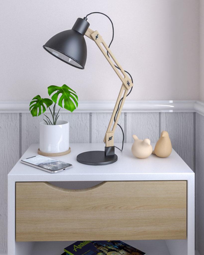 Swing adjustable arm scandinavian style table lamp