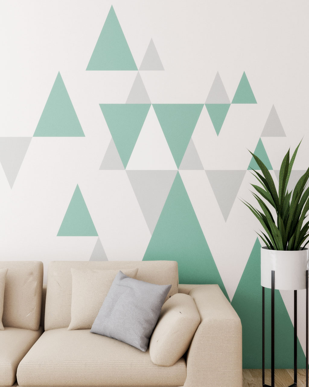 Triangle style wall paint ideas green, gray and white
