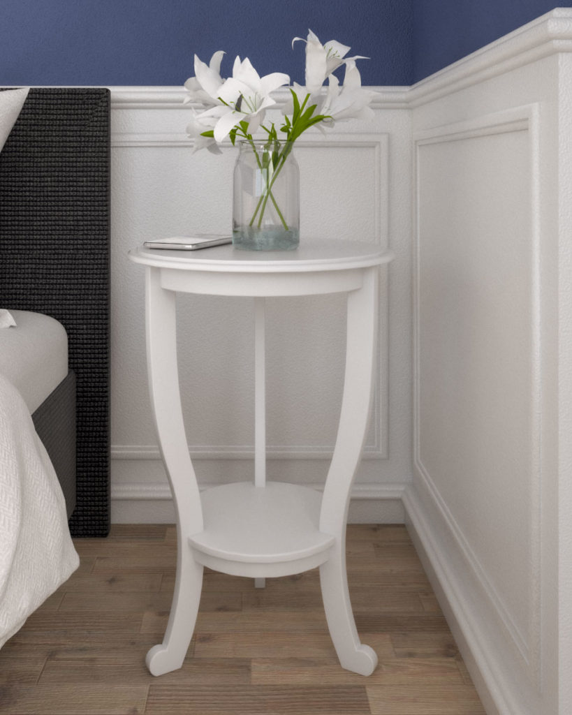 Vintage style white round nightstand table for small spaces