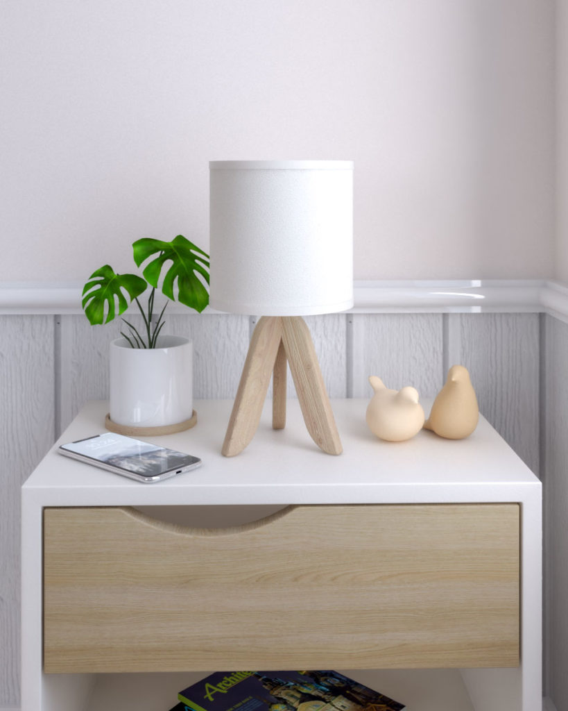 Wooden tripod legs bedside table lamp with scandinavian style.
