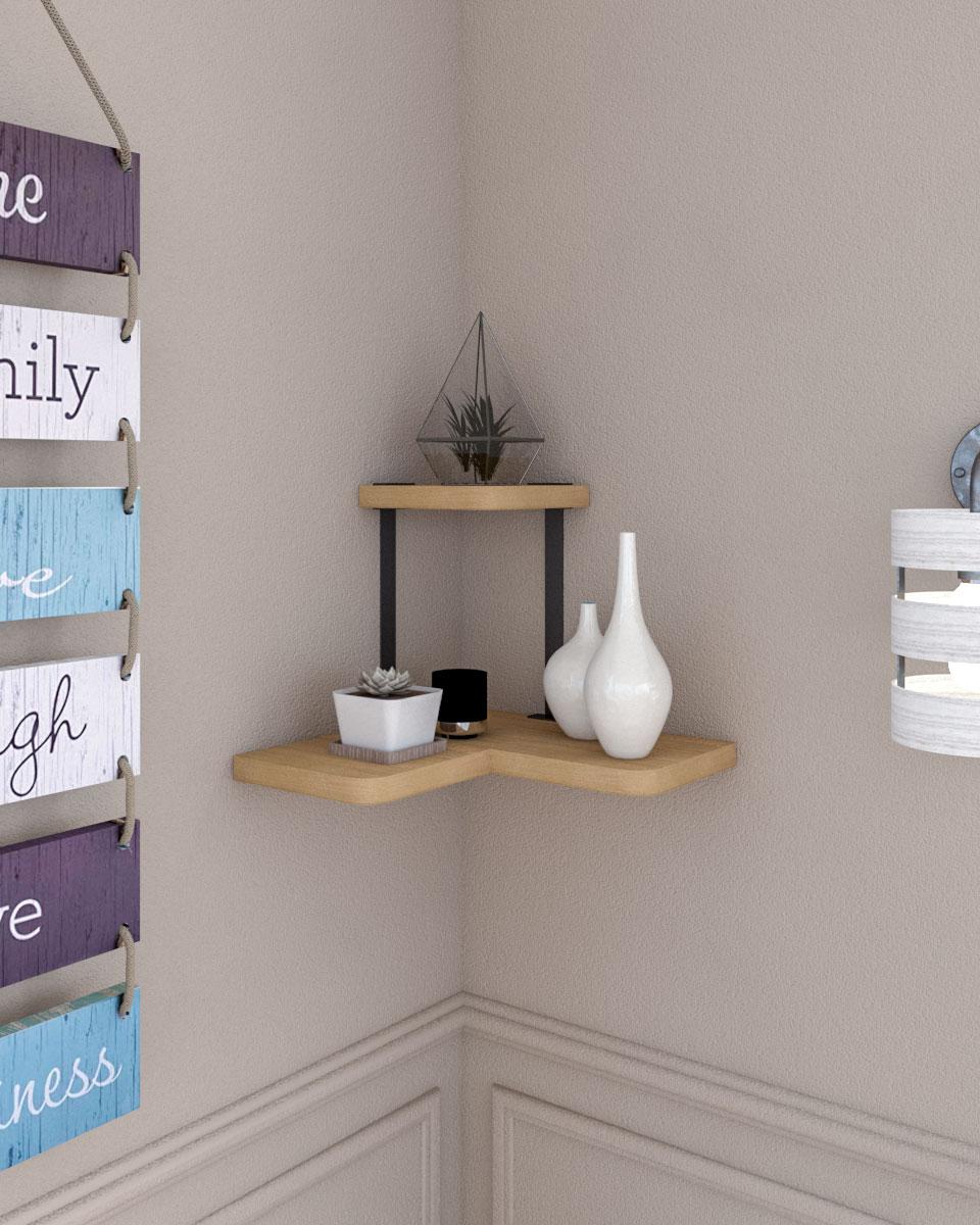 2 Tier rustic wood and metal bracket corner shelf