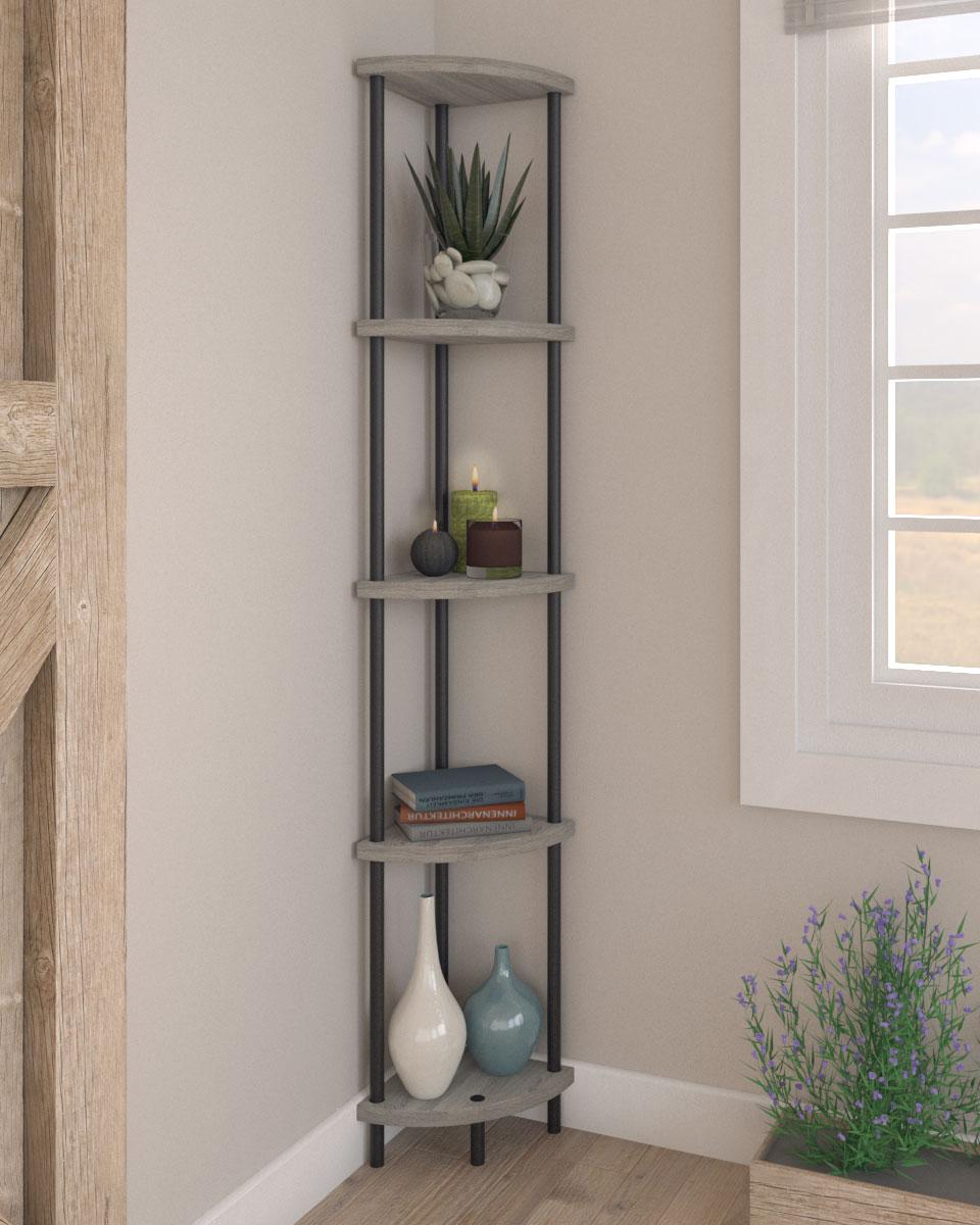 Stylish multipurpose 5 tier corner shelf with french oak finish