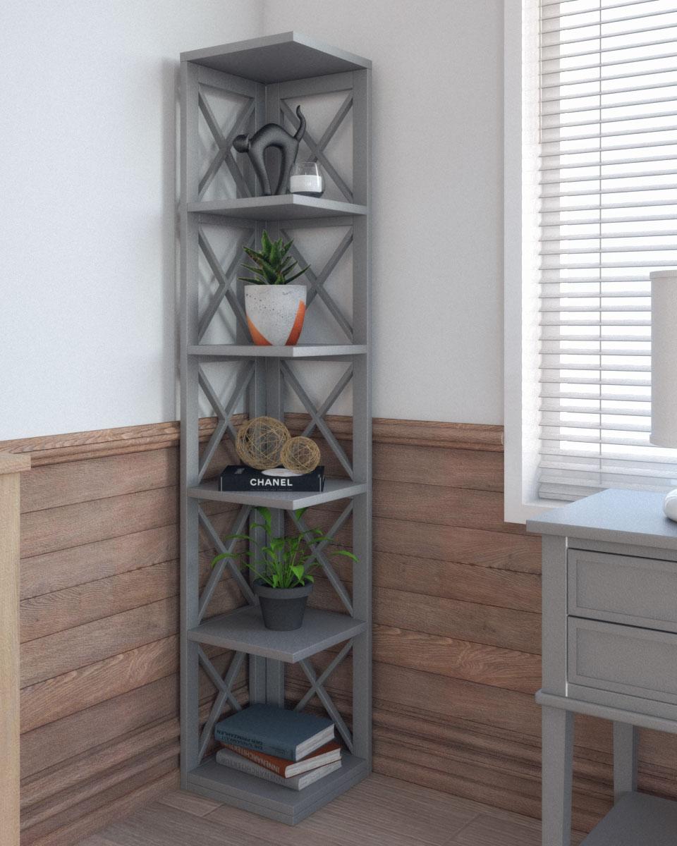 Rustic x-style design corner bookcase