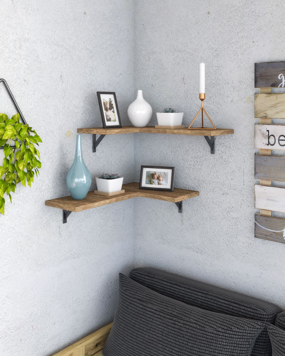 Rustic wood and metal corner shelf